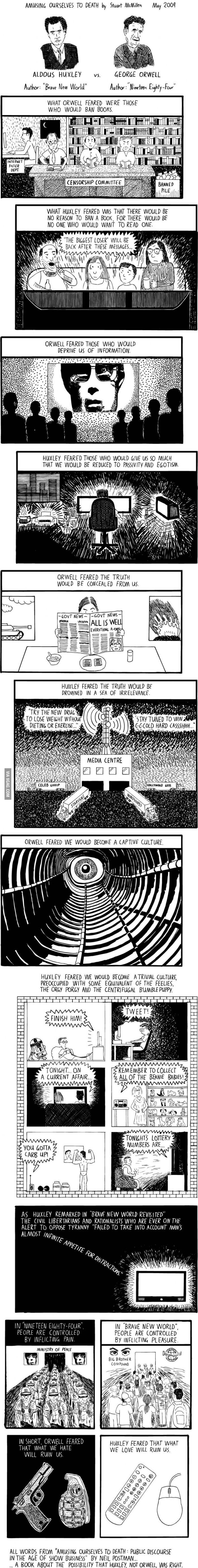 Resumen gráfico del libro 'Divertirnos hasta morir' de Neil Postman, por Stuart McMillen, comparando los libros 1984 de Orwell y Un mundo nuevo de Huxley