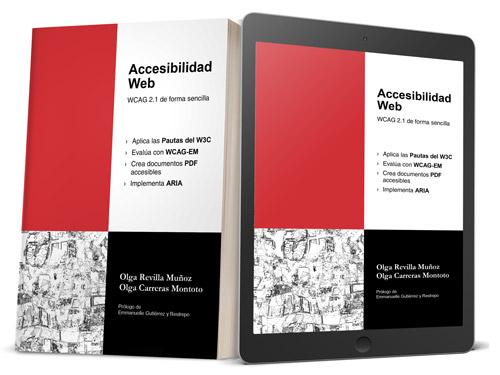 Portada y contraportada del libro 'Accesibilidad Web. WCAG 2.1 de forma sencilla' de Olga Revilla y Olga Carreras en formato papel