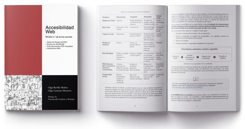 Portada y páginas abiertas del libro 'Accesibilidad Web. WCAG 2.1 de forma sencilla' de Olga Revilla y Olga Carreras. En las páginas interiores se observan tablas y gráficas resumen